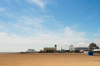Great Yarmouth beach, Wellington Pier and Winter Gardens